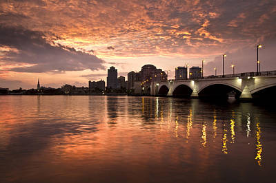 West Palm Beach Skyline At Sunset Print by Debra and Dave Vanderlaan