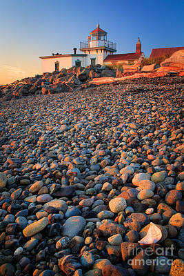 West Point Lighthouse Rocks Print by Inge Johnsson