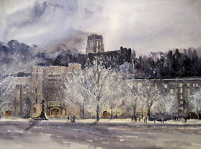 Winter Night Painting - West Point Winter by Sandra Strohschein