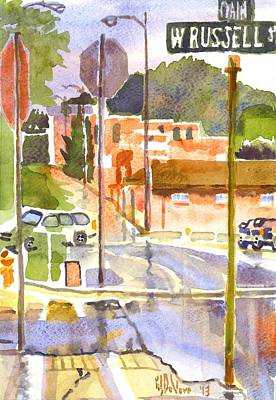 Main Street Corners Painting - West Russell And Main by Kip DeVore