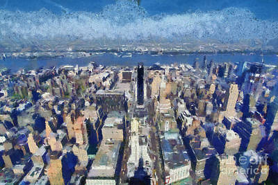 Empire State Building Painting - West View From Empire State Building by George Atsametakis
