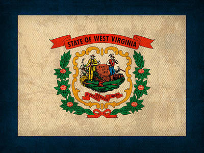 West Virginia State Flag Art On Worn Canvas Print by Design Turnpike