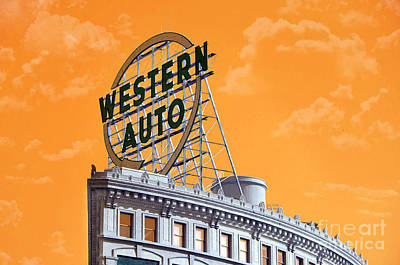 Andee Fine Art And Digital Design Photograph - Western Auto Sign Artistic Sky by Andee Design