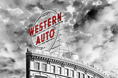 Missouri Photograph - Western Auto Sign Downtown Kansas City B W by Andee Design