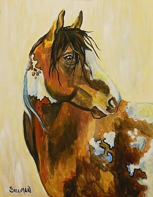 In Earth Tones Painting - Western Mustang Abstract by Veronica Silliman
