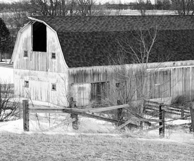 Red Barn In Winter Photograph - Western New York Farm 1 In Black And White by Tracy Winter