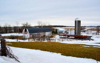 Western New York Farm As An Oil Painting Print by Tracy Winter
