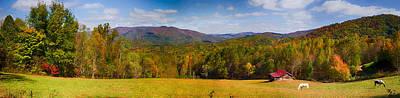 Great Smokey Mountains Painting - Western North Carolina Horses And Mountains Panorama by John Haldane