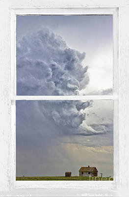 Picture Window Frame Photos Art Photograph - Western Storm Farmhouse Window Art View by James BO  Insogna