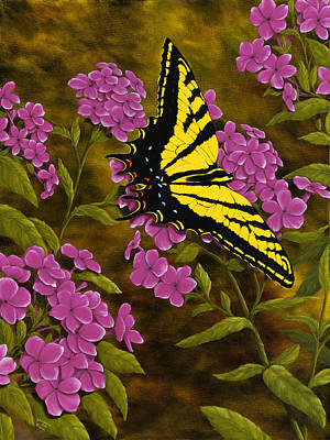 Phlox Painting - Western Tiger Swallowtail And Evening Phlox by Rick Bainbridge