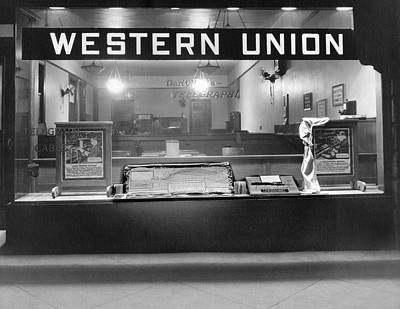 Nightlights Photograph - Western Union Telegraph Office by Underwood Archives