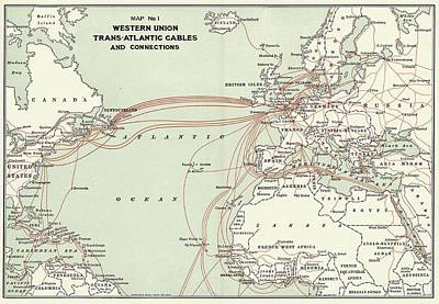 Western Union Transatlantic Cables Print by Library Of Congress, Geography And Map Division