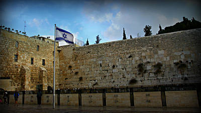 Synagogue Photograph - Western Wall And Israeli Flag by Stephen Stookey