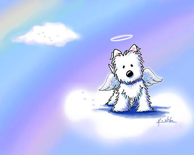 Westie Drawing - Westie Angel At Rainbow Bridge by Kim Niles