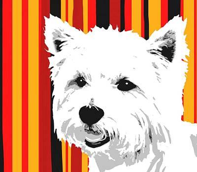 Dog Digital Art - Westie With Stripes by Cindy Edwards