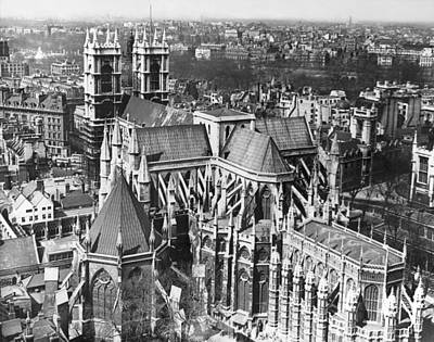 Birds Eye View Photograph - Westminster Abbey In London by Underwood Archives