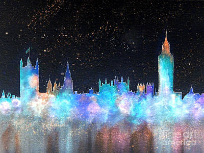 Great Britain Mixed Media - Westminster And Big Ben Cosmos by Bill Holkham