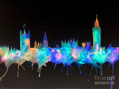 Great Britain Mixed Media - Westminster And Big Ben - Nighttime 1 by Bill Holkham