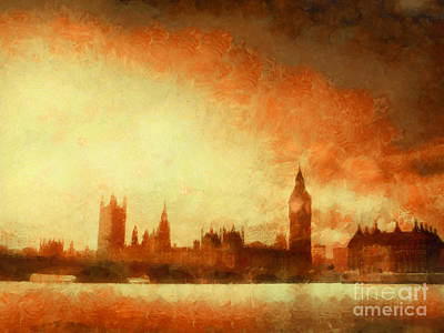 Westminster At Dusk Print by Pixel Chimp
