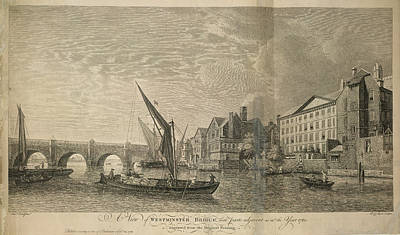 Westminster Bridge Print by British Library