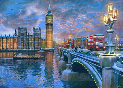 Westminster Christmas Print by Dominic Davison