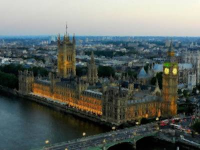 Westminster Palace Da 01 Print by Lance Vaughn