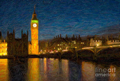 Impasto Oil Photograph - Westminster Twilight Impasto by Clarence Holmes