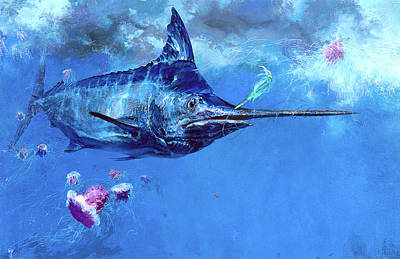Wet Fly And Blue Marlin, Bill Wrapped Print by Stanley Meltzoff / Silverfish Press