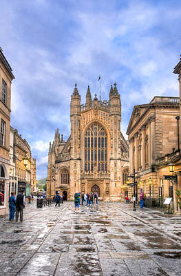 Wet Morning At Bath Abbey Print by Mark E Tisdale