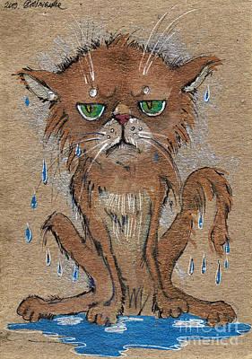 Wet Persian Cat Print by Angel  Tarantella