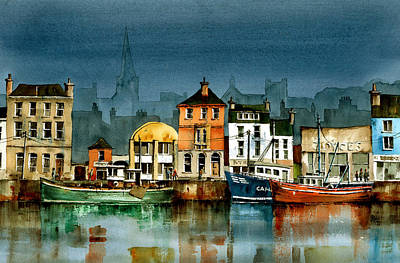 Tour Ireland Painting - Wexford Quayside by Val Byrne