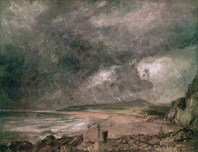 Weymouth Bay With Approaching Storm Oil On Canvas Print by John Constable