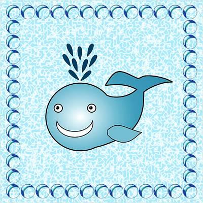 Whale Mixed Media - Whale - Animals - Art For Kids by Anastasiya Malakhova