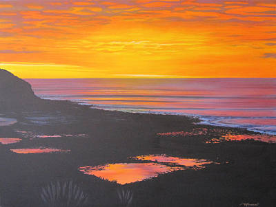 Surf Painting - Whale Bay At Sunset by Bruce McLachlan