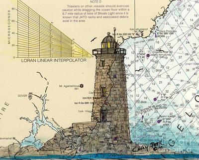 New England Lighthouse Painting - Whaleback Ledge Lighthouse Me Nautical Chart Map Art by Cathy Peek
