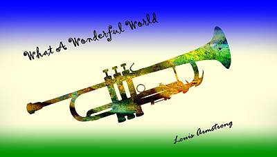 Sky Writer Painting - What A Wonderful World Armstrong Trumpet  by David Dehner