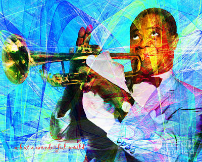 African-american Digital Art - What A Wonderful World Louis Armstrong 20141218 With Text P168 by Wingsdomain Art and Photography
