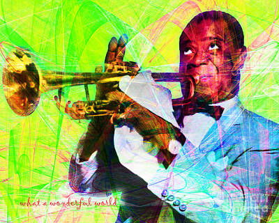 African-american Digital Art - What A Wonderful World Louis Armstrong 20141218 With Text P50 by Wingsdomain Art and Photography