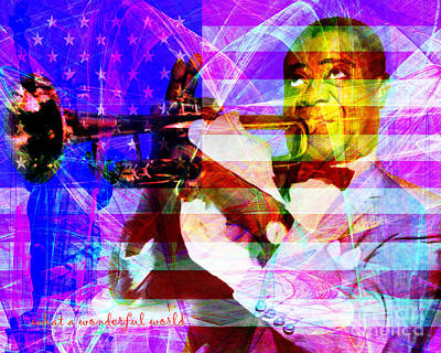 African-american Digital Art - What A Wonderful World Louis Armstrong With Flag 20141218 V1 With Text M128 by Wingsdomain Art and Photography