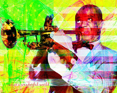 African-american Digital Art - What A Wonderful World Louis Armstrong With Flag 20141218 V1 With Text P50 by Wingsdomain Art and Photography