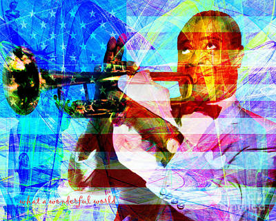 African-american Digital Art - What A Wonderful World Louis Armstrong With Flag 20141218 V1 With Text P68 by Wingsdomain Art and Photography