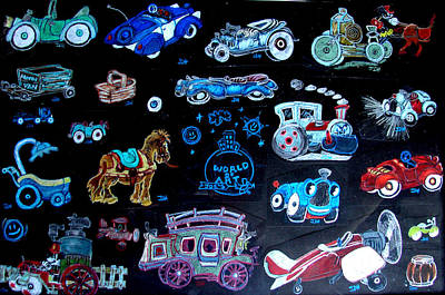 Tricycle Drawing - What Car Should We Take by Joseph Hawkins