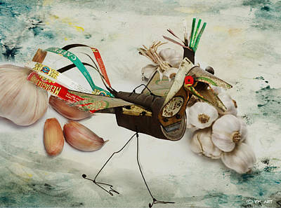 Onion Mixed Media - What Nature Delivers - Those Are Not My Eggs  by Yvon van der Wijk