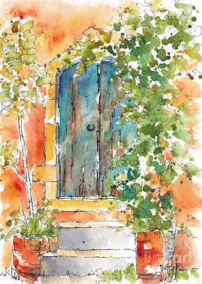 Aging Painting - What's Behind That Door? by Pat Katz