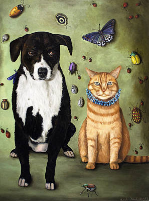 Beetle Cat Painting - What's Bugging Luke And Molly by Leah Saulnier The Painting Maniac