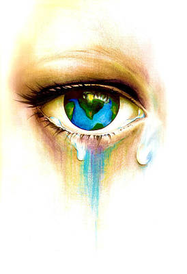 Eye Lashes Drawing - What's In A Tear? by Andrea Carroll