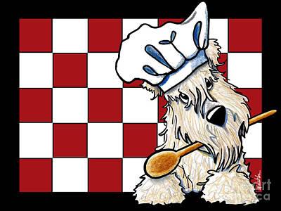 Kim Mixed Media - Wheaten Terrier Chef by Kim Niles