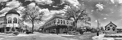 Wheaton Front Street Panorama Black And White Print by Christopher Arndt
