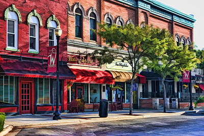 Wheaton Front Street Store Fronts Print by Christopher Arndt