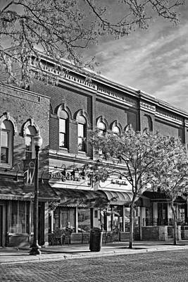 Wheaton Front Street Stores Black And White Print by Christopher Arndt